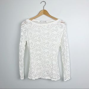 Anne Fontaine Lace Boatneck long sleeve blouse 40